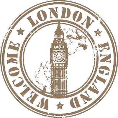 """London United Kingdom Travel Car Bumper Sticker Decal 5"""" x 5"""""""