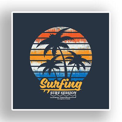 2 x California Surf Surfing Vinyl Stickers Travel Luggage #7576