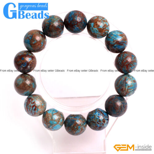 Handmade Blue Crazy Lace Agate Beaded Stretchy Bracelet Gift Free Shipping 7/""