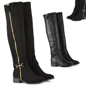 Womens-Stretch-Over-The-Knee-High-Boots-Ladies-Zip-Up-Buckle-Winter-Shoes-Size