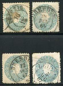 GERMANY STATES SAXONY SCOTT# 20b MICHEL# 19a USED LOT OF 4 AS SHOWN