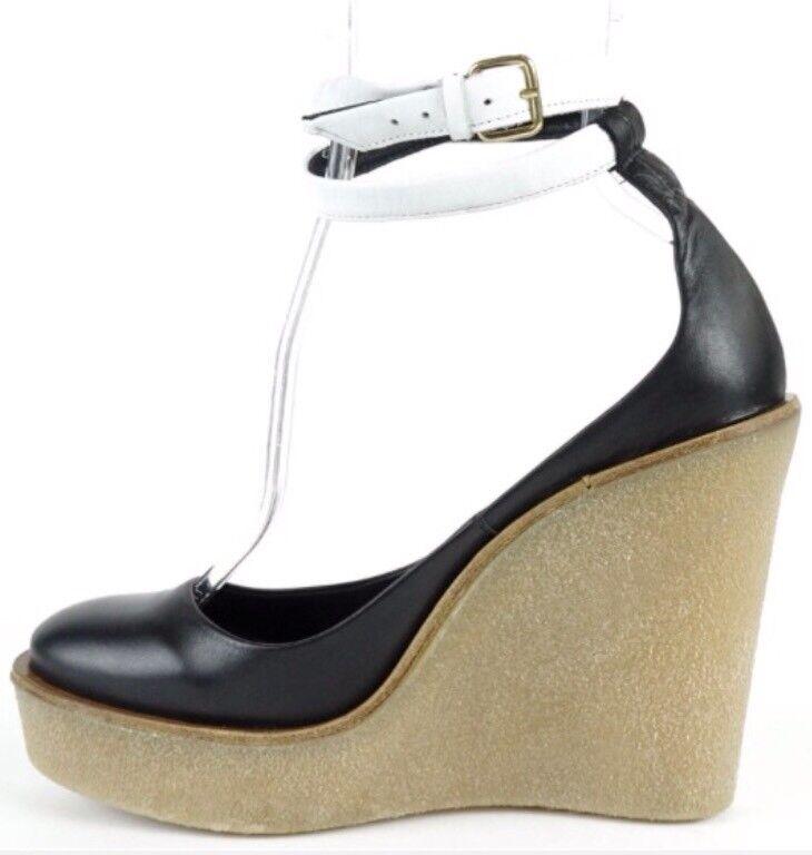 vendita scontata online di factory outlet Pierre Hardy Mai Calf Leather Platform Platform Platform Wedge scarpe  nero bianca  EU 40, US 10  al prezzo più basso