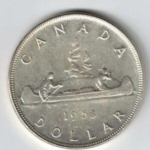 CANADA-1953-NSF-SWL-VOYAGEUR-SILVER-DOLLAR-QUEEN-ELIZABETH-II-SILVER-COIN