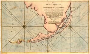 Map Of South East Florida.Details About 1772 Map Ancient Tegesta Coastal South East Florida Keys Dry Tortugas 19374