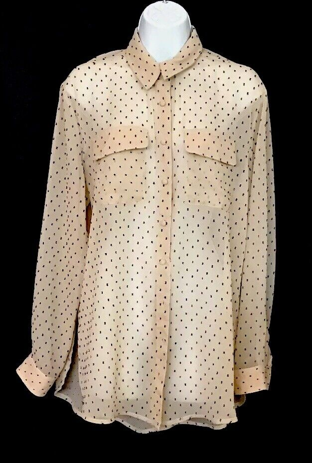 L' Academie Blouse Long Sleeve Beige Polkadot Sheer Button-Down Größe Small