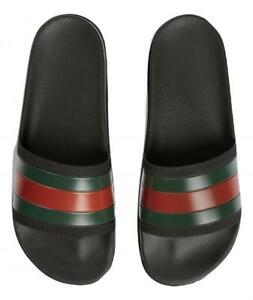 f417a6cfbb6 GUCCI slippers rubber sandal with WEB 429469 GIB10 1098 ribbon black ...