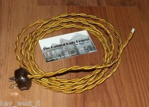 GOLD-8-039-Vintage-Lamp-Cord-Twisted-Cloth-Covered-Wire-w-Oak-Leaf-Plug