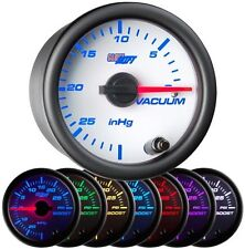 "52mm 2 1/16"" GlowShift White 7 Color Mechanical Vacuum Intake Gauge - GS-W703"