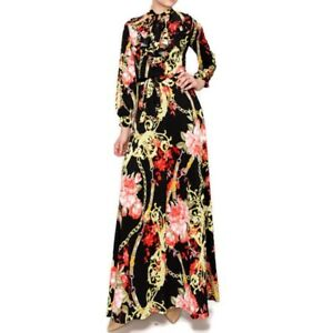 Janette-Fashion-Red-Floral-Chain-Ruffle-Bow-Tie-Long-Sleeve-Maxi-Dress-S-L