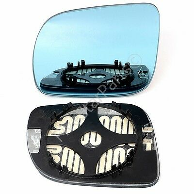Left Passenger side blue Wing mirror glass for VW Lupo 1998-2005 Heated (12 cm)