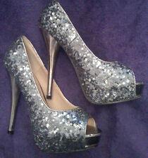 NEW * Sz4 Dark Silver Sequin Covered Peep Toe Mirror Heel Shoes Hidden platforms