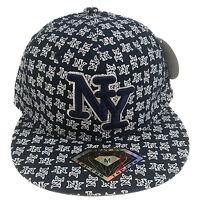 York Logo Navy Blue Hip Hop Fitted Cap