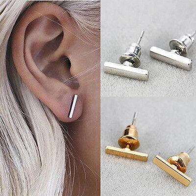 1 Pair Punk Simple Women Tiny Bar Fashionable Earrings Stud Cute Bar Gold/Sliver