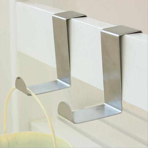 10pc Over Door Hooks Stainless Steel Metal Robe Hanger Clothes Coat Hanging Bath