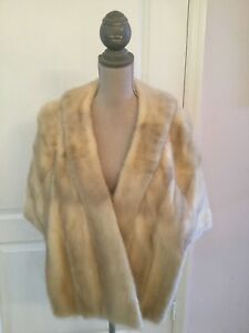 103a53491caa3 Details about Glamorous Tourmaline Blonde Cream MINK FUR STOLE Cape Capelet  Shawl Wrap Jacket