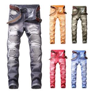 Casual-Men-Distressed-Ripped-Biker-Slim-Broken-Jeans-Stretched-Moto-Denim-Pants