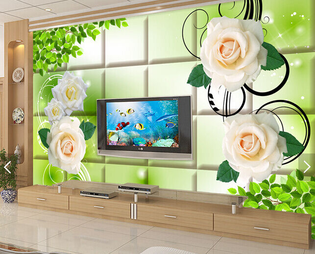 3D greene Blätter, whitee pink  Fototapeten Wandbild Fototapete BildTapete Familie