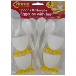 Image Is Loading 4 Egg Cups Amp Spoons Novelty Kitchen