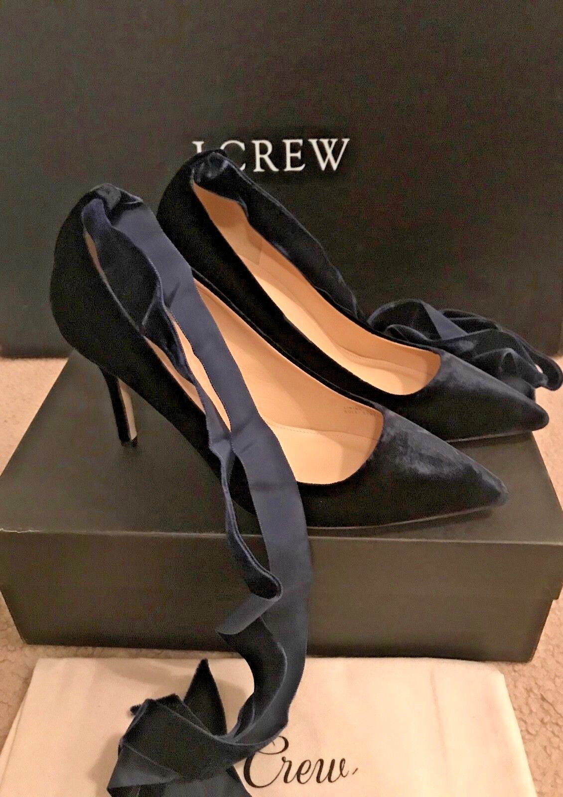 J.CREW ELSIE VELVET ANKLE-WRAP PUMPS SIZE 10,5M DARK PACIFIC G8166