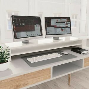 Wooden Monitor Stand with Shelf Computer Laptop Speaker TV Screen Riser White