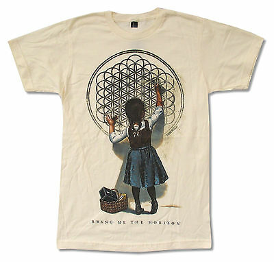 BRING ME THE HORIZON SCHOOL GIRL IMAGE CREAM T-SHIRT NEW OFFICIAL ADULT BMTH