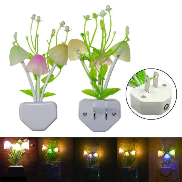 LED Flower Mushroom Sensor Night Light Wall Lamp Kids Room Home Xmas Decor Gift