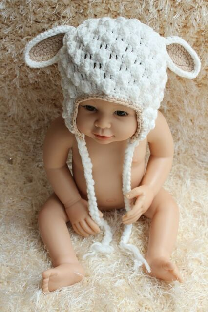 New Cute Handmade Cotton Lamb Sheep Baby Child Knit Hat Cap Newborn Photo Prop