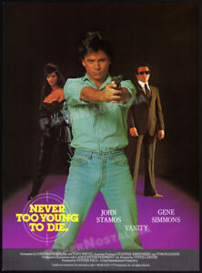 NEVER-TOO-YOUNG-TO-DIE-Original-1985-Trade-print-AD-promo-VANITY-GENE-SIMMONS