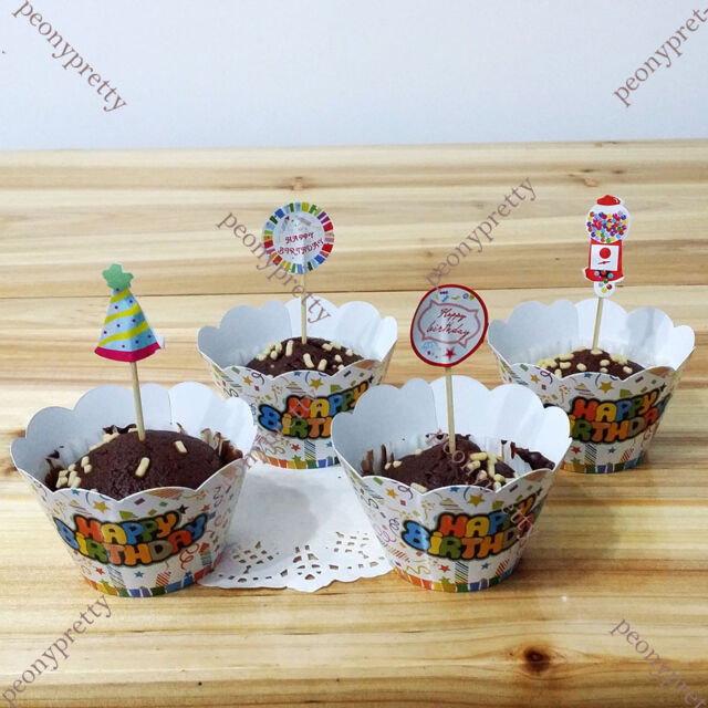 12 sets happy birthday cupcake wrappers & toppers decor cocktail party wrap