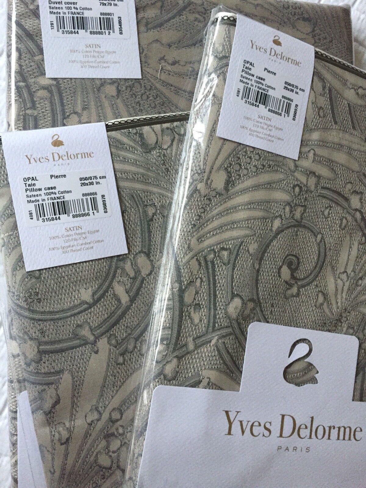YVES DELORME OPAL PIERRE SATIN Duvet Cover Set DOUBLE