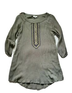 Umgee-Womens-Small-Green-Embroidered-Pride-In-Culture-Henley-Tunic