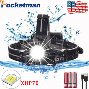 Super Bright 200000LM XHP70 LED Headlamp Rechargeable 3Mode Zoom Headlight 18650