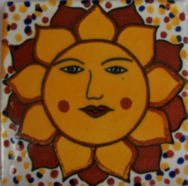 C203 - Mexican Handmade Talavera Clay Tile Folk Art 4x4