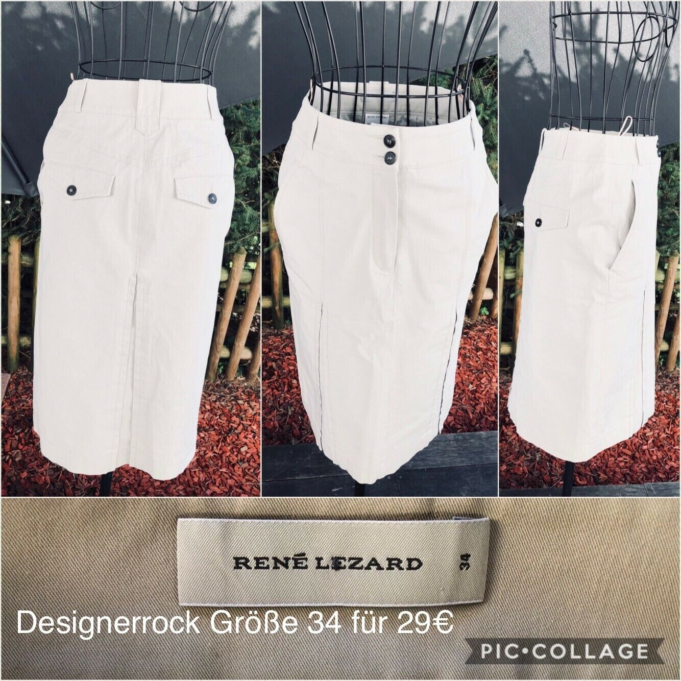 Designerrock, Midirock, eleganter Rock v. René Lezard, Hellgrau, Gr. 34/XS