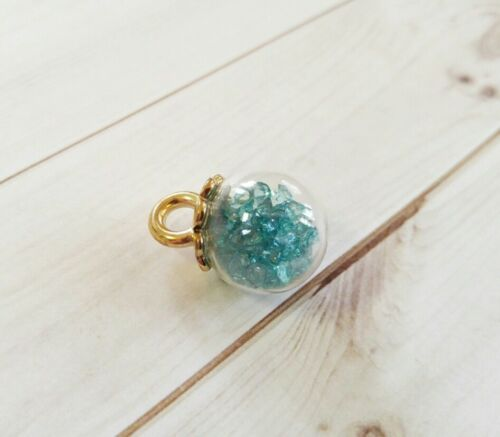 Glass Ball Charm Clear Globe Pendant Gold Top Crystal Dangle Jewelry Supplies