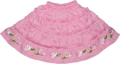 White Skirt with Pink Embroidered Flowers Fits 18 inch American Girl Dolls