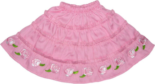 Pink Skirt with Pink Embroidered Flowers Fits 18 inch American Girl Dolls