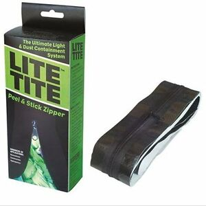 Image is loading Lite-Tite-Heavy-Duty-Peel-&-Stick-Zipper-  sc 1 st  eBay & Lite Tite Heavy Duty Peel u0026 Stick Zipper - Black - tarp zip room ...