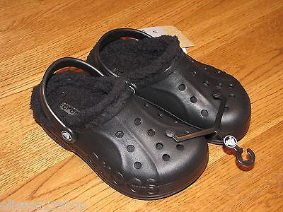 Crocs baya lined Clog kids child roomey fit sandal shoe J1/3 J 1 3 Black^^