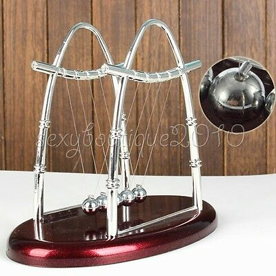 Newtons Cradle Balancing Swinging Metal Balls Plastic Base Toys Desk Accessories