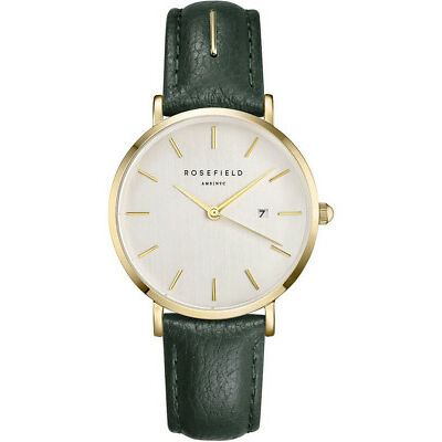 NEW Rosefield SIFE-I80 33MM The September Issue White Dial Green Leather