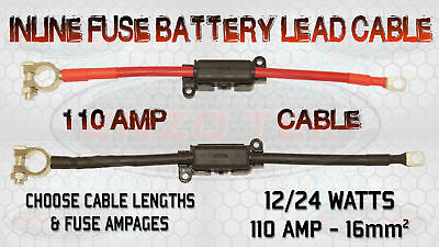 110 Amp Jumper Lead Cable + Built In Inline Fuse Box Charged Live Earth Pos Neg