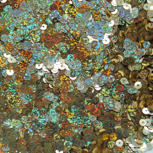 5mm Flat Sequin ~ Gold Hologram Glitter Reflective ~ Loose Paillette Made in USA