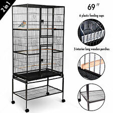 "69"" Large Bird Pet Swivel Cage Parrot Cockatiel Conure Chinchilla Stand 2 Doors"