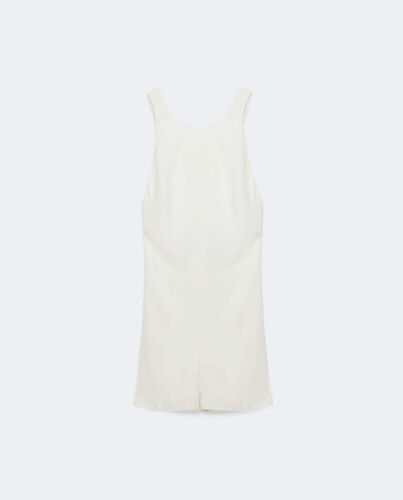 ZARA New Short Jumpsuit Open Back Crossover Wide Straps Ecru Print Blue S M L XL