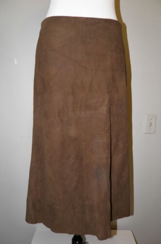 Ralph Lauren Blue Label Brown Suede Leather Midi S