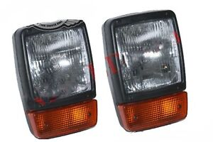 Front-Headlight-Headlamp-Indicator-Assembly-Pair-With-H4-12v-Bulb-JCB-Dumpers