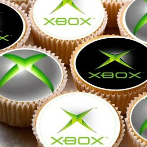 24 icing cake toppers decorations x box xbox logo ebay for Decoration xbox one