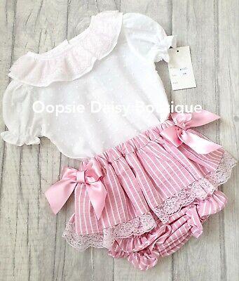 0-36mths Baby Girls Spanish Pink Ribbon Candy Striped Jam Pants /& Blouse Set