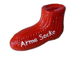 Witzige Spardose Arme Socke 10 X 16 Cm Sparbuchse In Rot